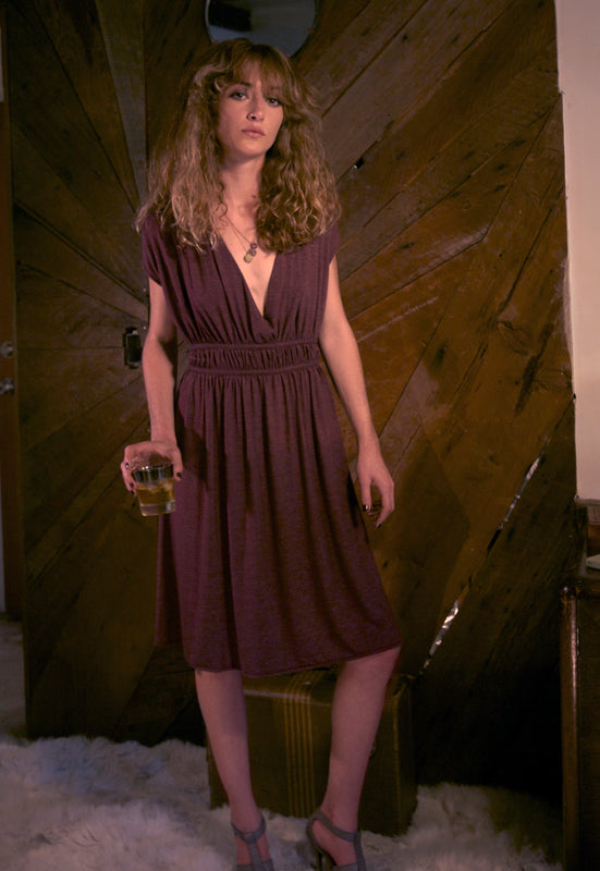 Double Tie Drapey Plunge Dress - Mulled Wine