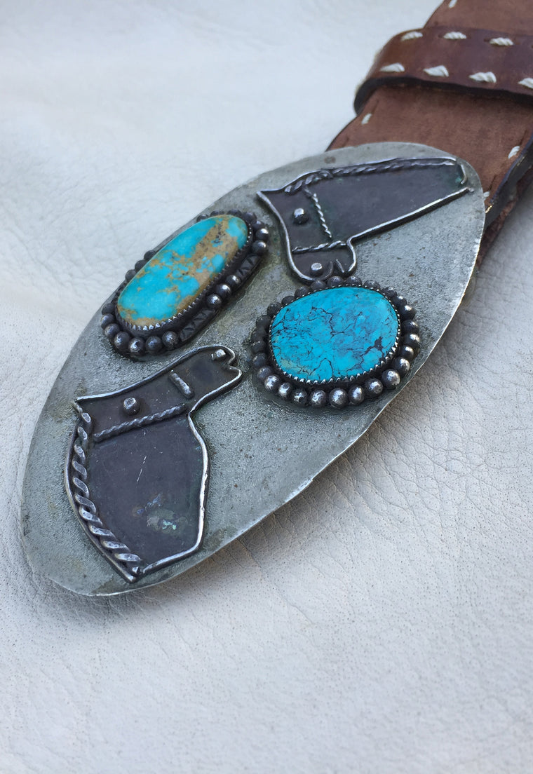 Horses and Turquoise Vintage Belt Buckle