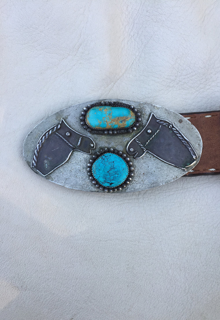 Rough Vintage Twin Horses & Turquoise Belt Buckle