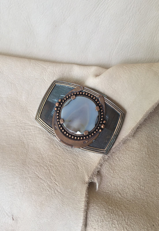 Brass Tone Vintage Agate Horseshoe Belt Buckle