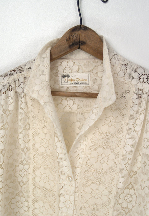 Lace Button Down Blouse