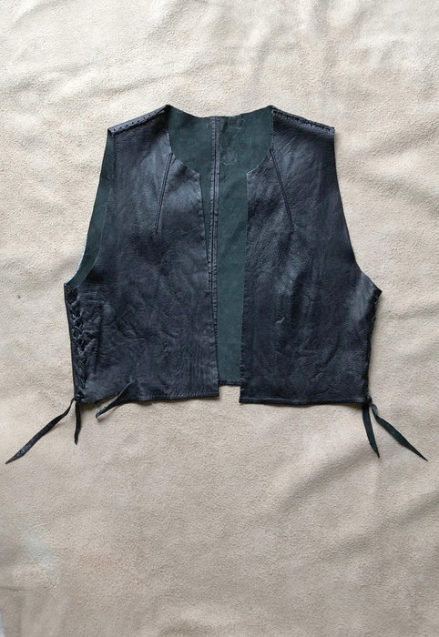 Black Leather Rough Hewn Handmade Vest