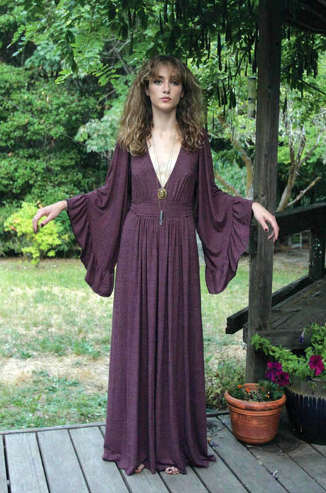 Mulled Wine Bell Sleeve Maxi