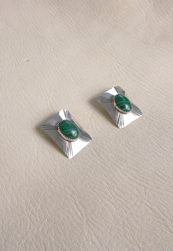 Vintage Deco Native America Sterling Silver Malachite Earrings Desert Southwest Jewelry