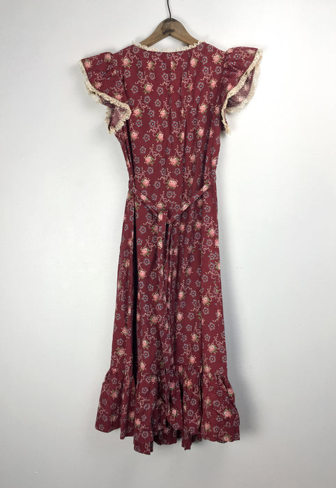 Vintage 70s Maroon Country Prairie Summer Dress