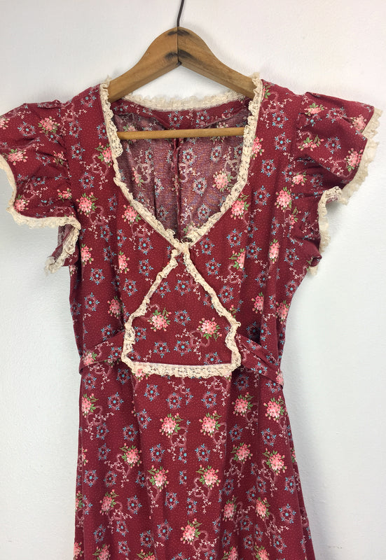 Vintage 1970s Maroon Country Prairie Summer Dress