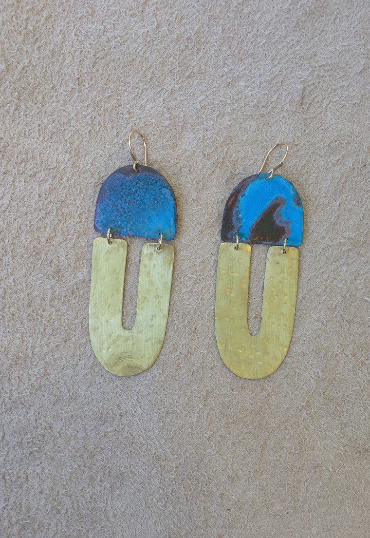 'North Fork' Blue Patina Copper & Hammered Brass Earrings