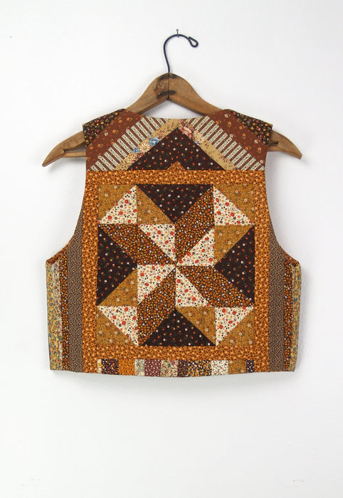 Orange & Brown Quilted Handmade Vest