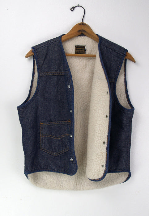 Vintage Faux Shearling Sears Roebuck 1970's Denim Vest