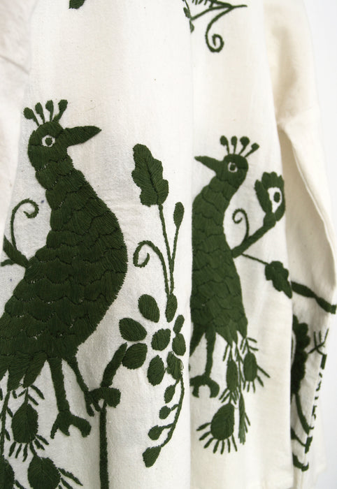 Natural Colored Hand Embroidered Mexican Folk Peacock Top