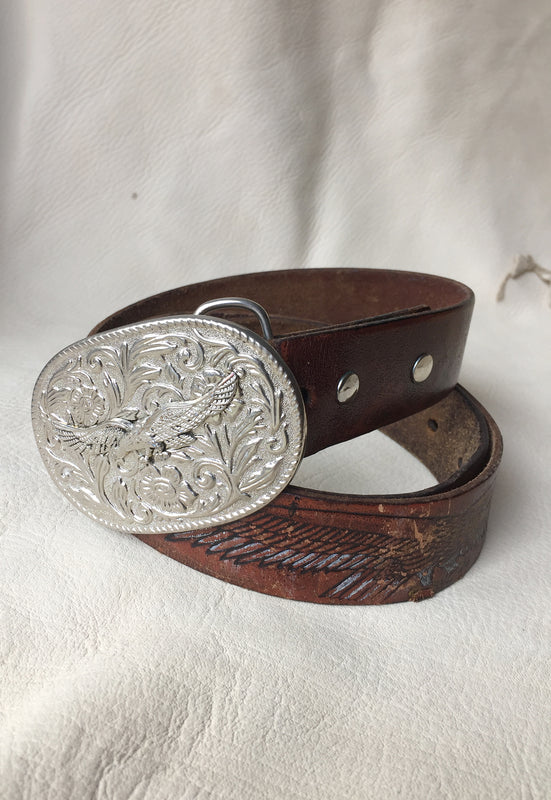 Eagle Vintage Leather Belt with Removable Buckle
