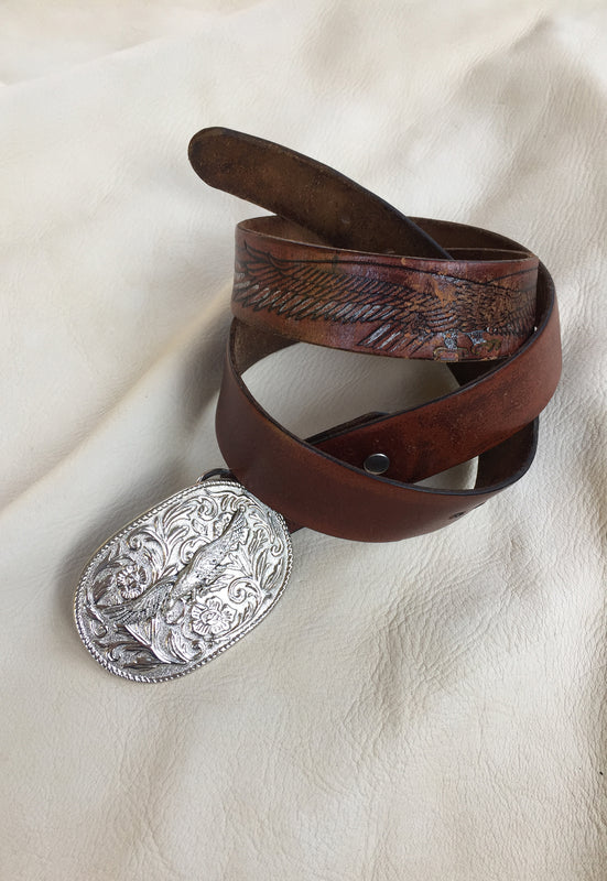 Vintage Eagle Tooled Brown Leather Belt and Belt Buckle