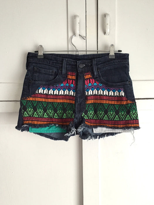 Re-purposed Vintage Levi's Denim Mexican Blanket Shorts