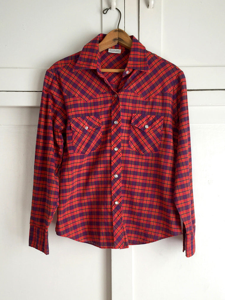 Vintage Women's Red Plaid Western Pearl Snap Shirt