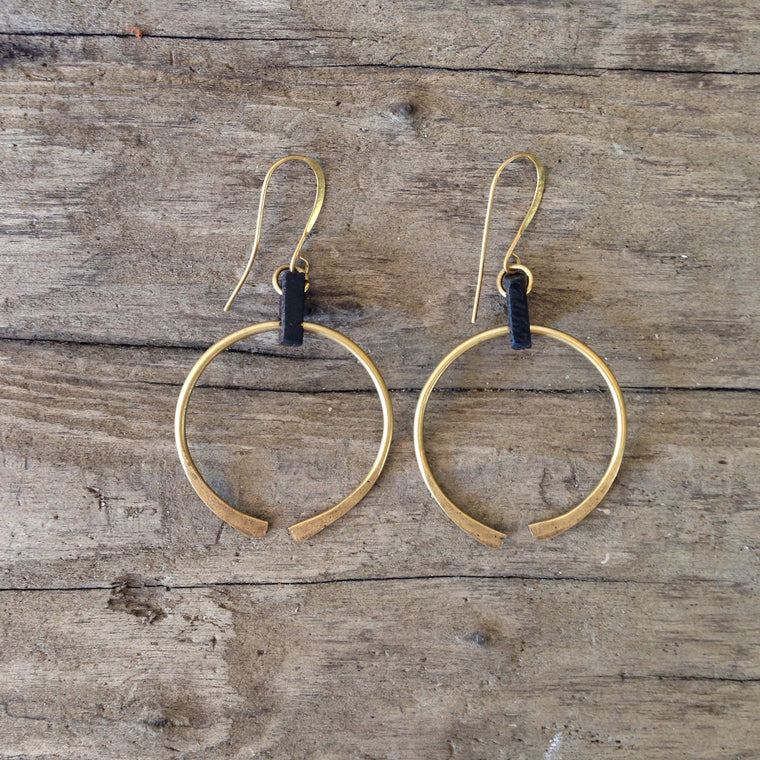 Coco Chispa Brass and Wood Architectural Hoop Earrings Idylwild Cups of Coco