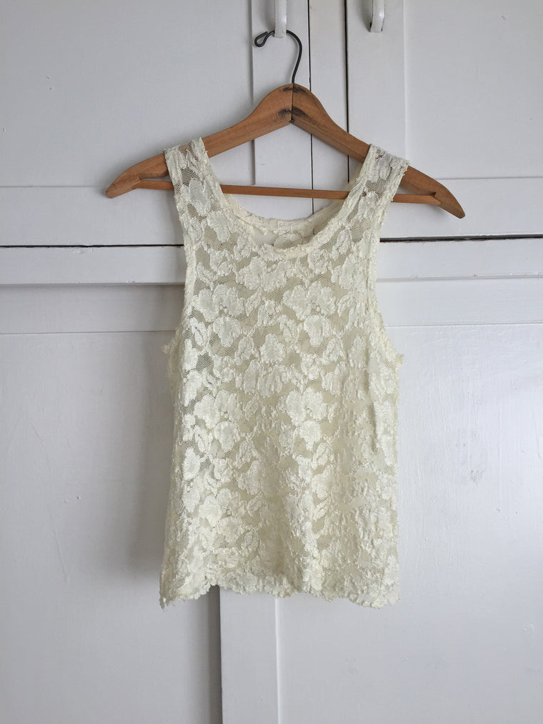 Ivory Sheer Stretch Lace Tank