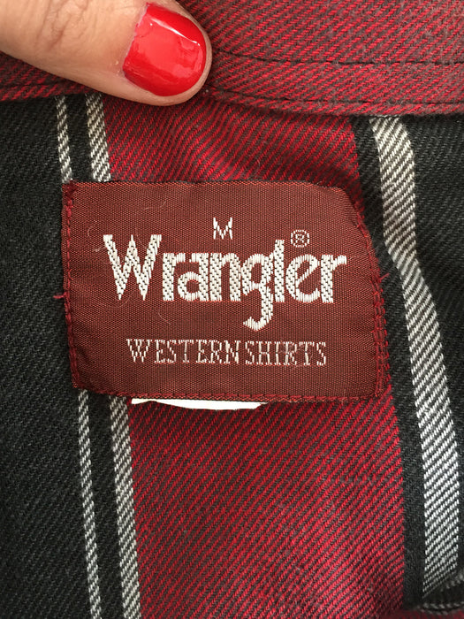 Pearl Snap Wrangler Western Flannel M