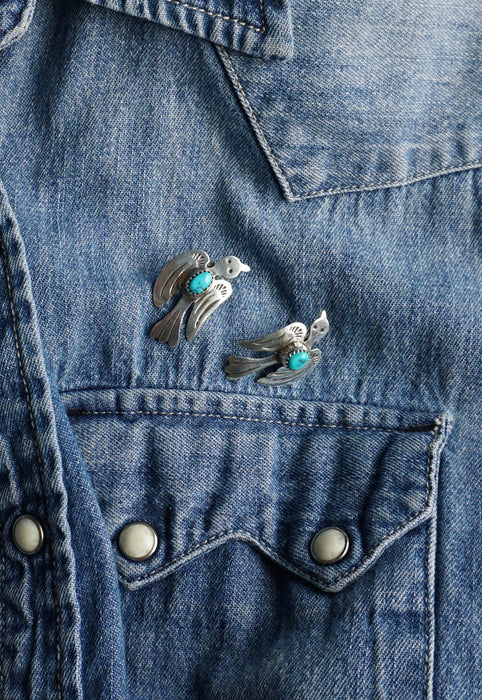 Vintage Native American Sterling Silver Thunderbird Turquoise Signed Earrings