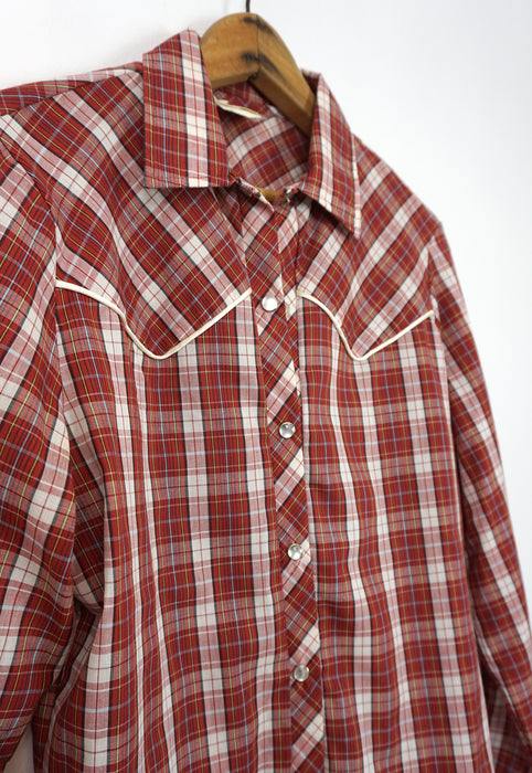 Vintage Women's Red Pearl Snap Western Shirt