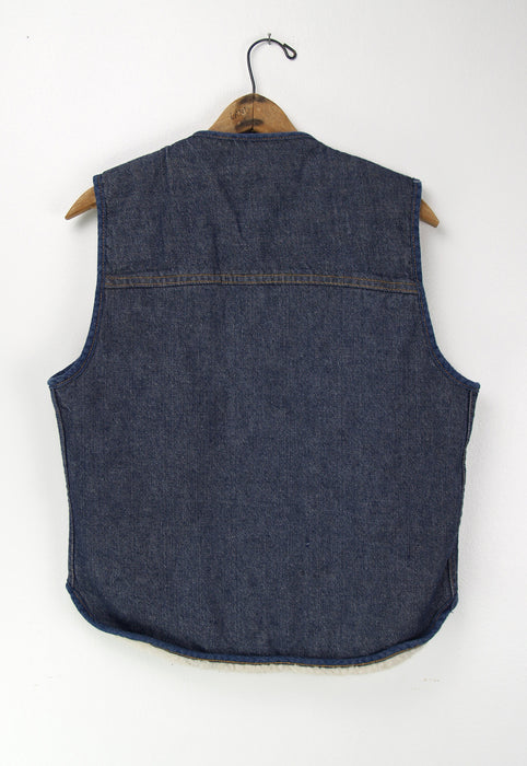Vintage Faux Shearling Sears Roebuck 1970s Denim Vest