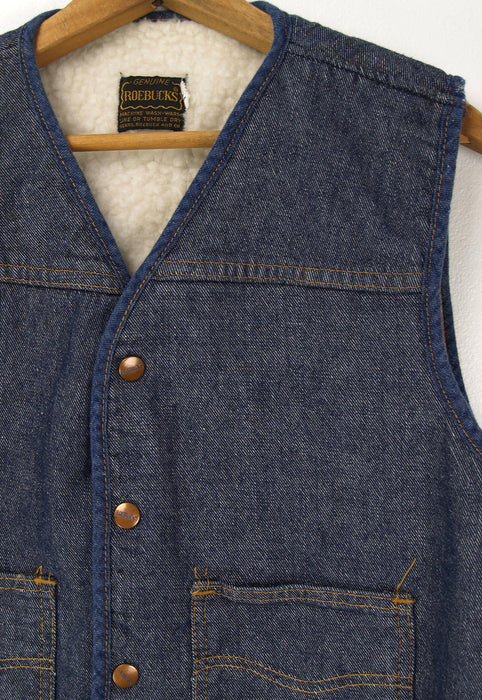 Vintage Faux Shearling Sears Roebuck 70s Denim Vest