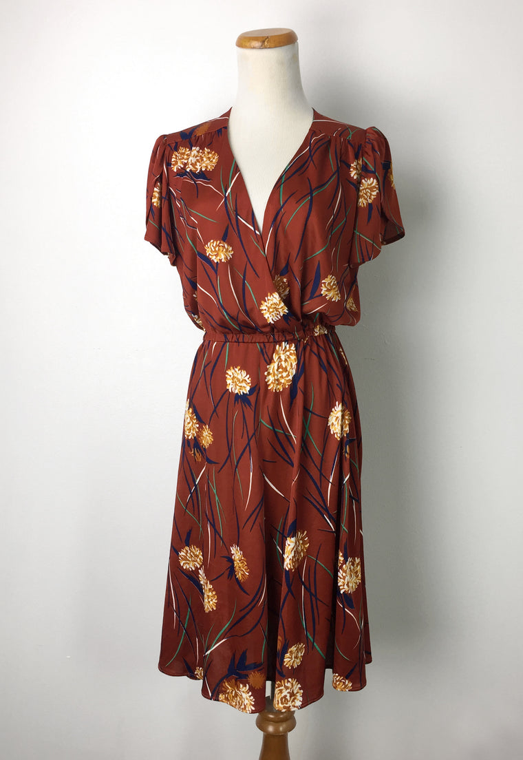 70's Rust Floral Drapey Dress