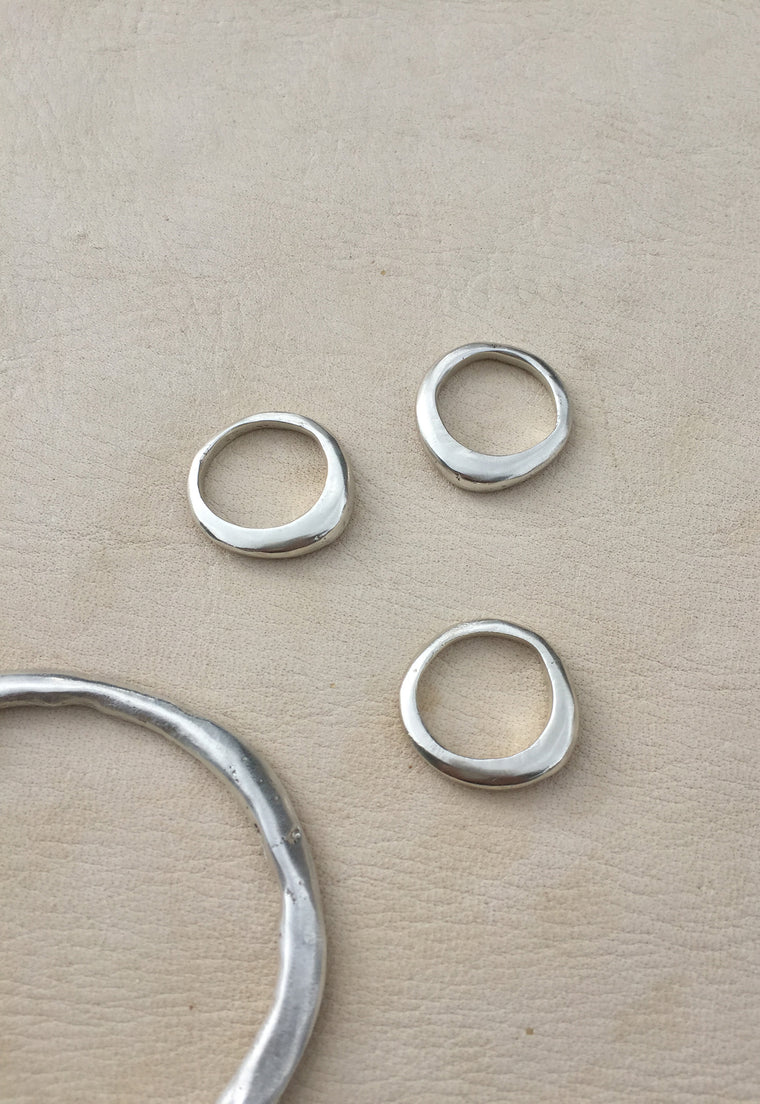 Organically Shaped Stackable Ring - Solid Sterling Silver