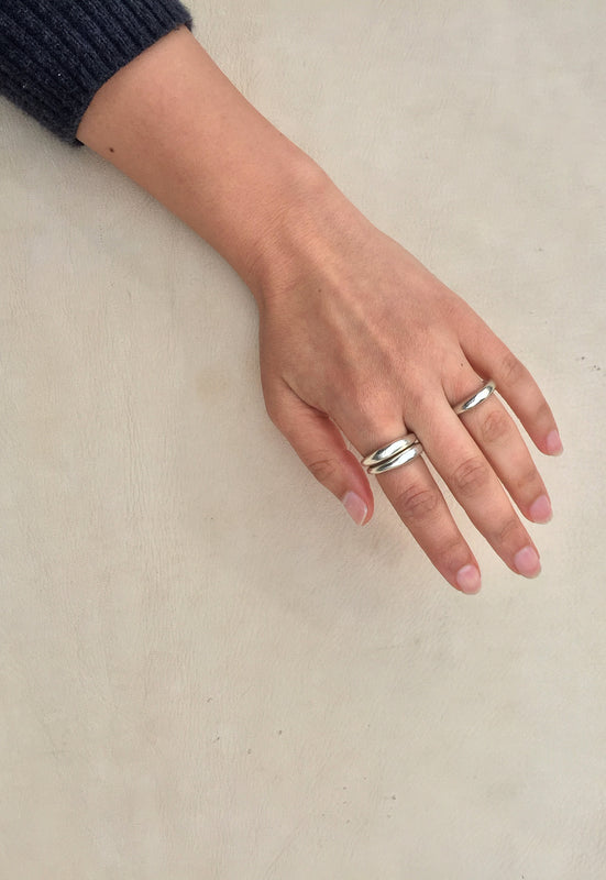 Organic Free Form Minimalist Solid Sterling Silver Stackable Ring Cashmere Cactus Hand Made Desert Jewelry
