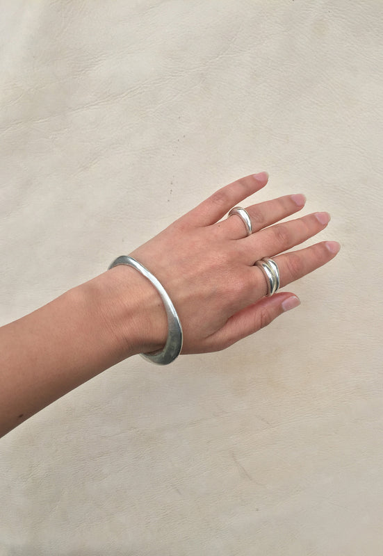 Solid Sterling Silver Sand Cast Bangle