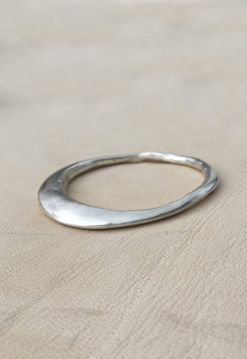 Organic Free Form Minimalist Asymmetrical Solid Sterling Silver Bangle Bracelet Cashmere Cactus Hand Made Desert Jewelry