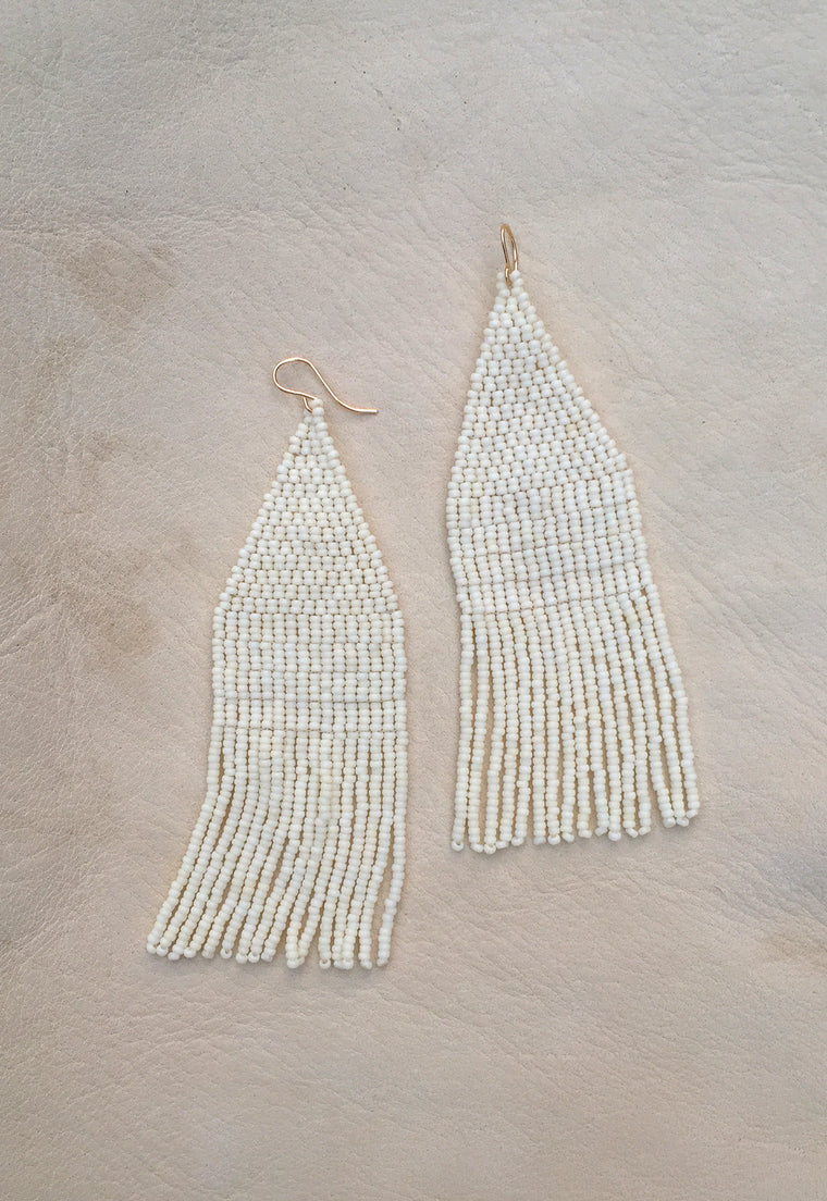 Snow Moon Hand Beaded Earrings