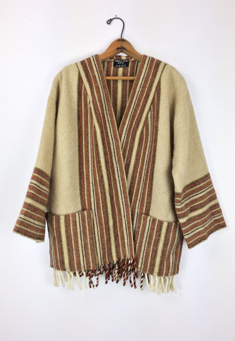 1970's Woven Norwegian Blanket Sweater Jacket