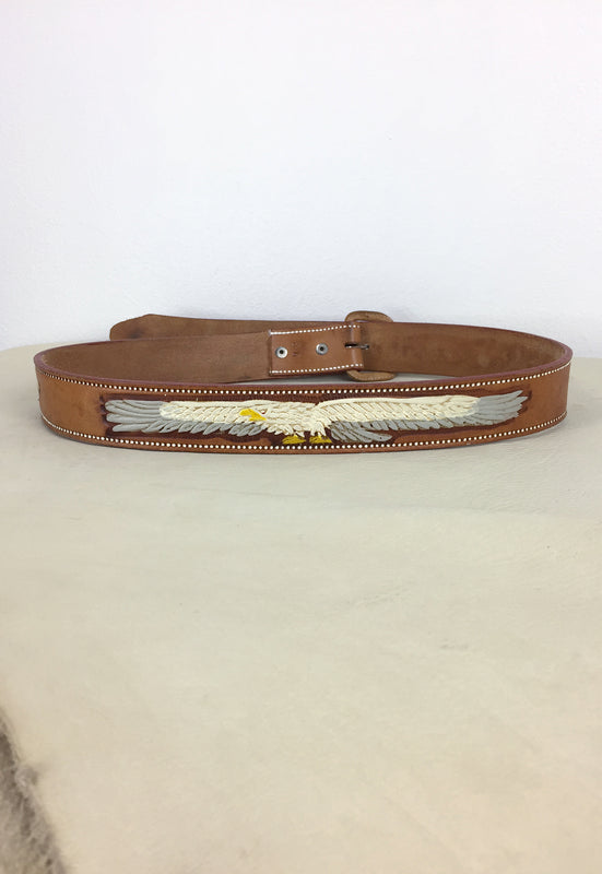 Eagle Tooled & Painted Leather Belt