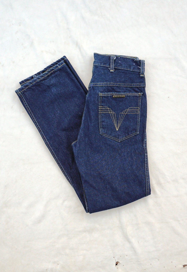 Vintage High Waist Raw Denim Straight Leg Jeans