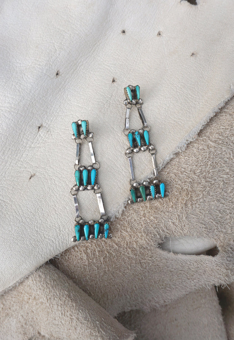 Zuni Turquoise Chandelier Vintage Earrings
