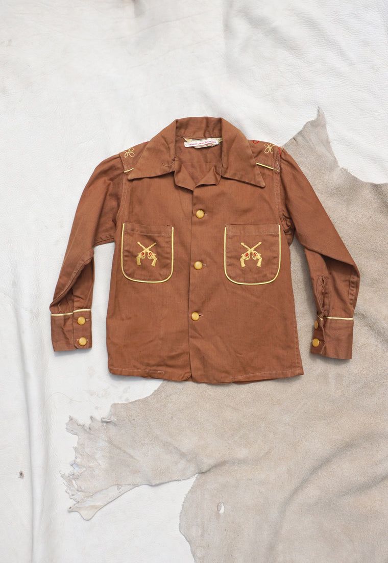 Vintage Early 1960's Billy the Kid Embroidered Shirt