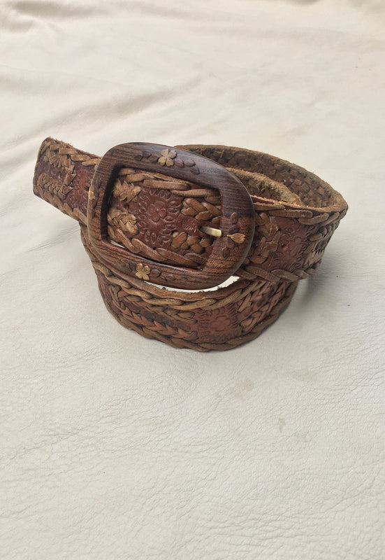 Buttery Soft Leather Belt with Wood Buckle