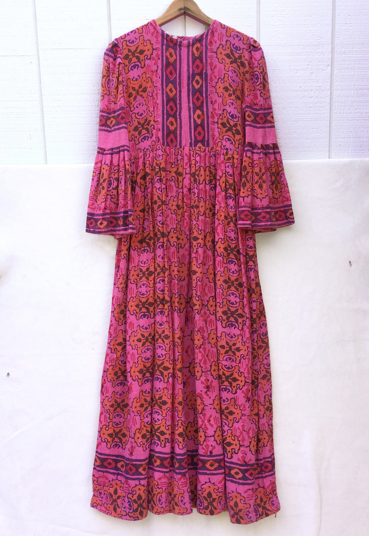 Incredible 1970's India Cotton, Gauze, Batik Magenta Maxi