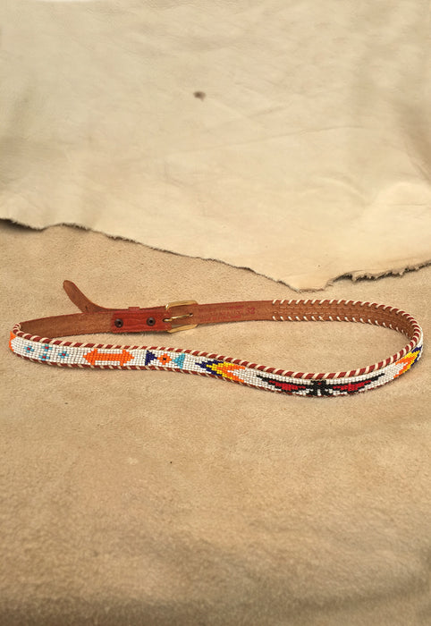Vintage Hand Beaded Leather Whipstitch East/ West Thunderbird Belt