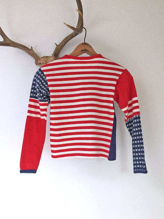 Vintage 70's American Flag Long Sleeve Youth Tee