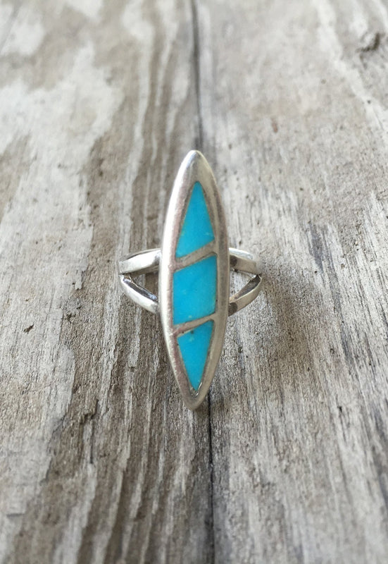 Idylwild Silver and Turquoise Inlay Ring