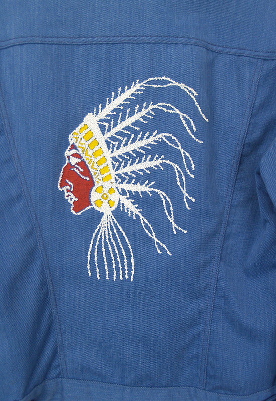 Vintage Light Blue Cotton Denim Beaded Chief Jacket