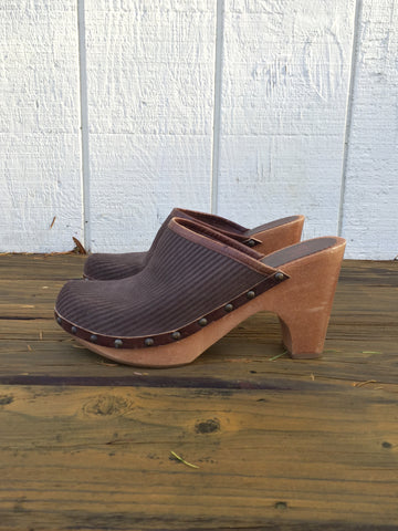 Vintage Corduroy Leather, Wooden Clogs 8.5