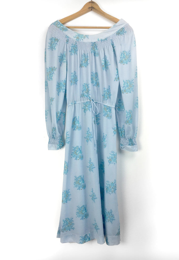 Cornflower Blue Floral Smocked Peasant Dress