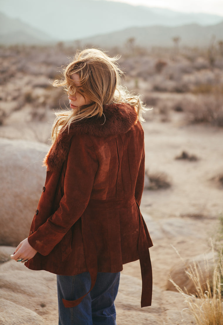 Gorgeous Maroon Vintage Suede Fur Collar Jacket