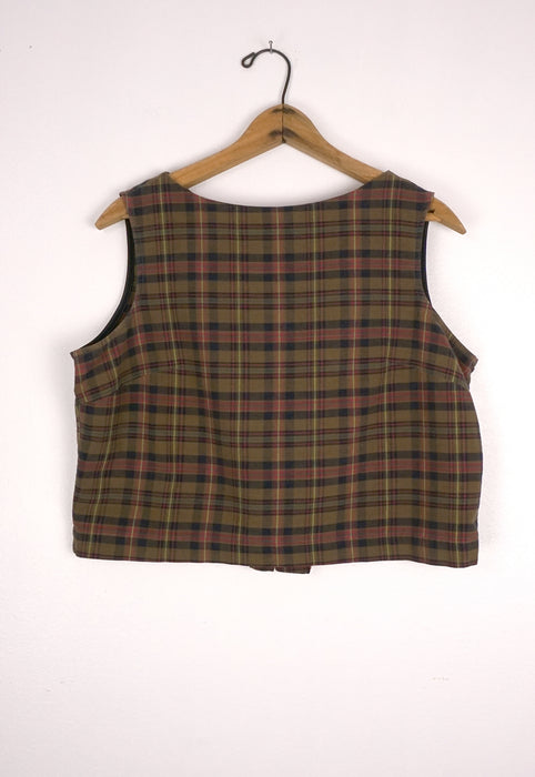 Early 60's Cotton Woven Olive Plaid Shell