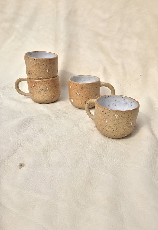 Blonde Cactus Stamped Small Speckled Mug