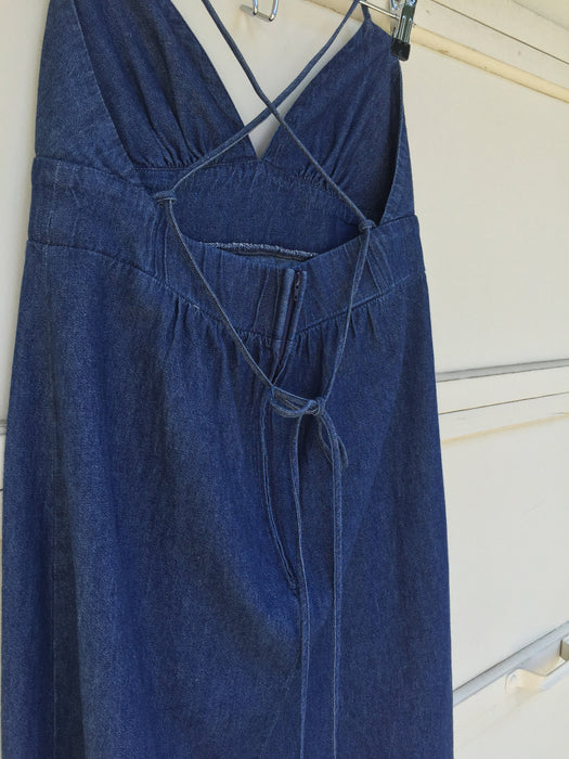 Vintage Strappy Crossback Dark Denim Country Summer Dress