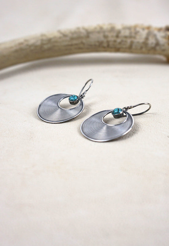 Vintage Sterling Silver Disk Earrings