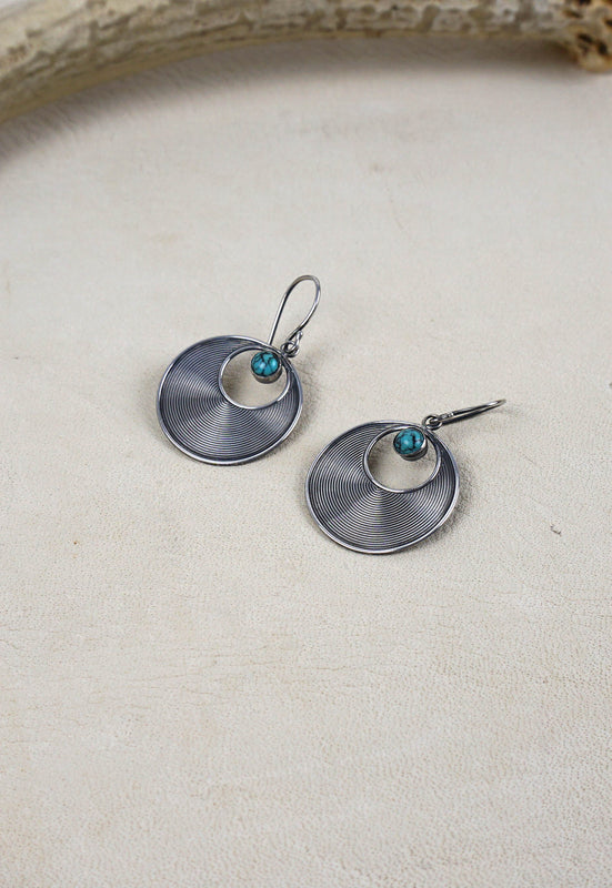 Sterling Silver Simple Disk Earrings with Turquoise